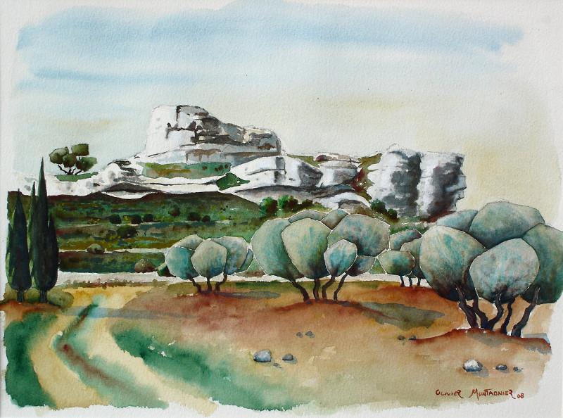 Champ d'oliviers, 2008   Aquarelle, 40 × 30 cm