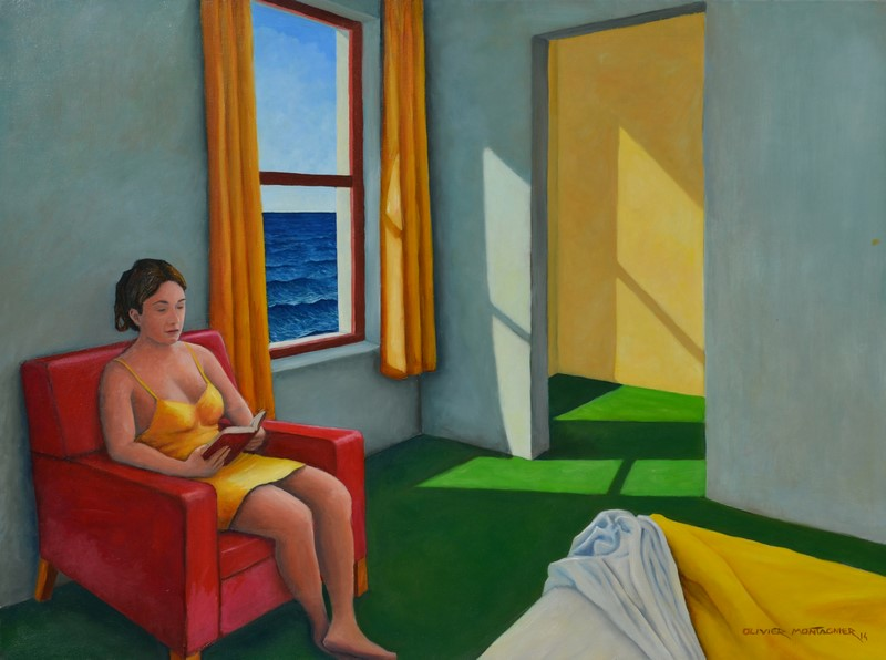 Chambre grise, hommage à Edward Hopper, 2014 | Huile, 73 × 54 cm