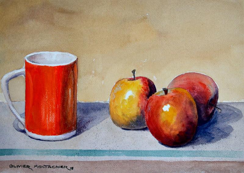 Nature morte aux trois pommes, 2015 | Aquarelle, 35 × 25 cm