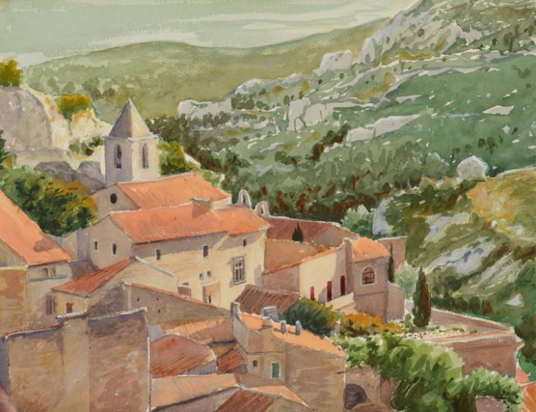 Le village des Baux, 2016   Aquarelle, 40 × 30 cm